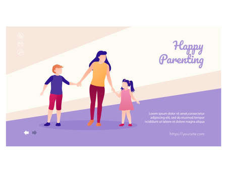 Happy parenting web page interface flat design