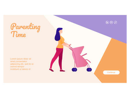 Parenting time web page interface flat design