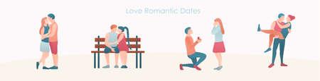 Set of love romantic couples on dates