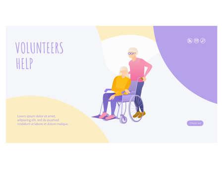 Senior people volunteer help landing page design