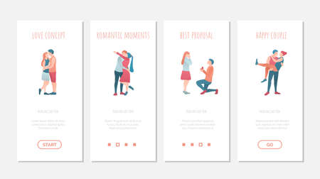 Set of onboard screens with happy couples