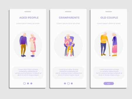 Elderly people social and health care landing page Ilustração