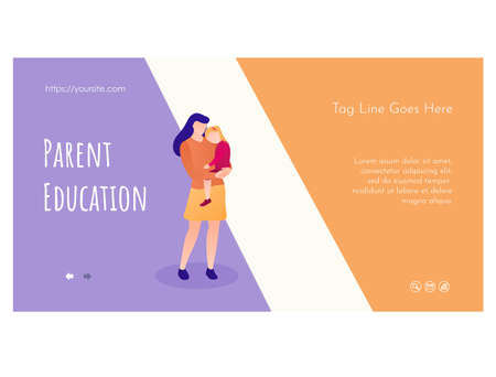 Parent education web page flat design template