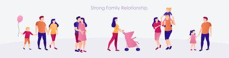 Strong family relationship banner flat design set