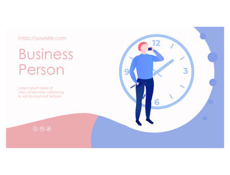 Business person web page template flat design 矢量图像