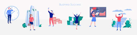 Modern lifestyle banner with office people set 矢量图像