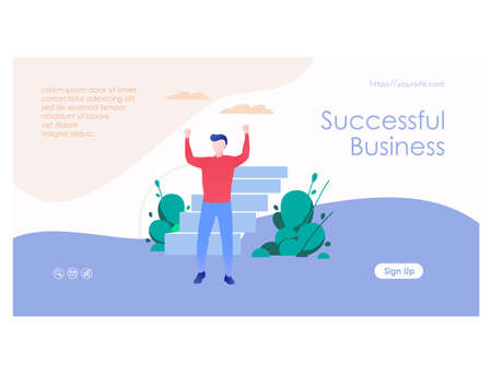 Successful business web page template flat design 矢量图像
