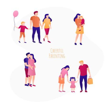 Happy parenting concept banner flat design set