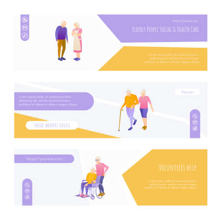 Elderly people social and health care landing page 矢量图像