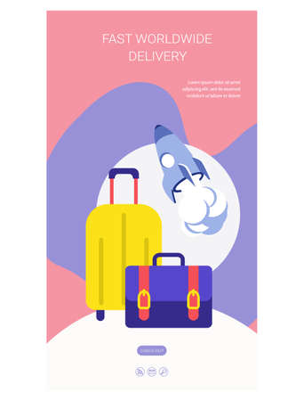 Fast worldwide delivery web page flat design 矢量图像
