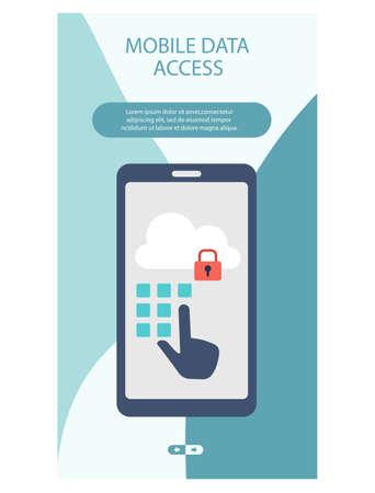 Mobile data access mobile app page design 矢量图像