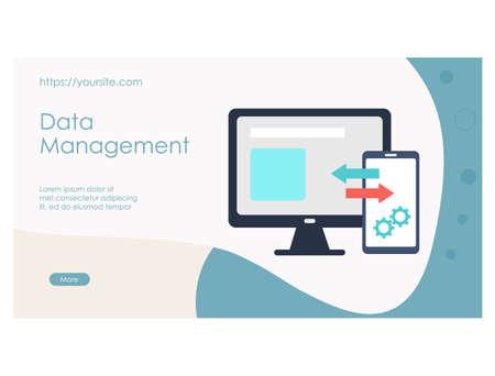 Data management landing page template flat design Ilustração