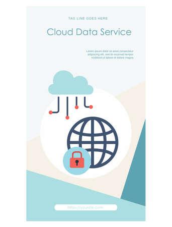 Cloud data service web banner template design Ilustração
