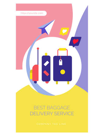 Fast worldwide delivery web page flat design Ilustração