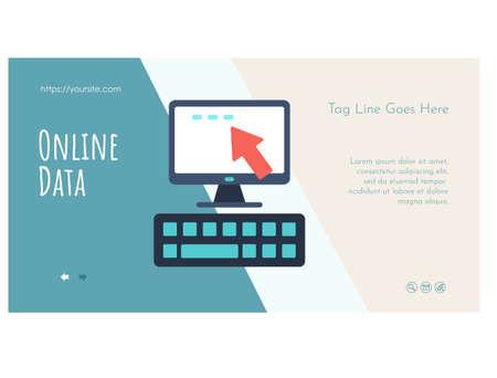 Online data landing page template flat design