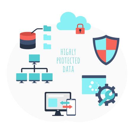 Highly protected data network elements flat set Ilustração