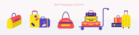 Baggage delivery with travel suitcase and bags set