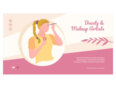 Beauty and makeup artists landing page design.
