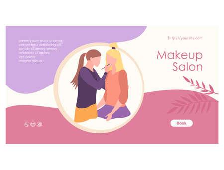 Makeup salon web page template flat design