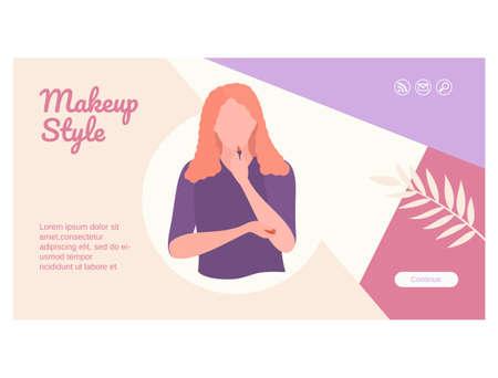 Makeup style landing page flat design template Ilustração