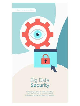 Big data security web page flat design