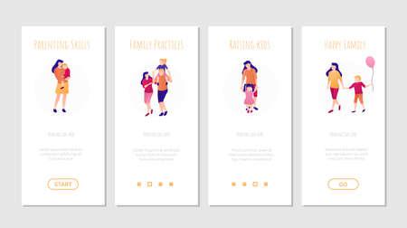 Parenting happy kids onboard screen templates set.