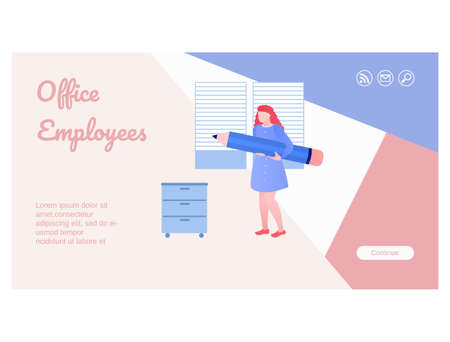 Office work concept landing page template design