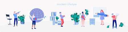 Modern lifestyle banner with office people set Ilustração