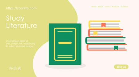 Study literature banner or web page design layout Ilustração