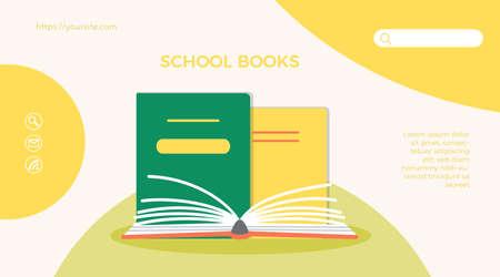 School books web page mobile app template design Ilustração