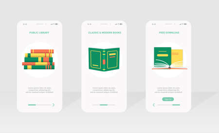 Public library, ebook mobile app page template set