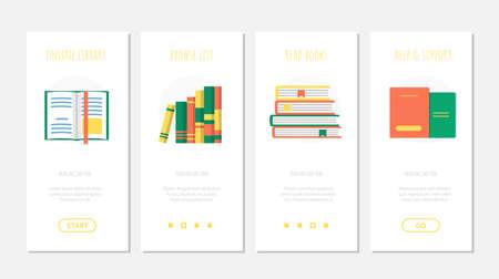 Set of online book library onboard screen template Ilustração