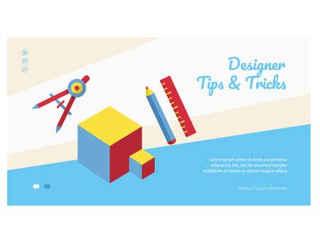 Designer tips and tricks web banner, landing page