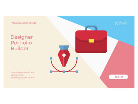 Designer portfolio builder web page or flat banner Ilustração