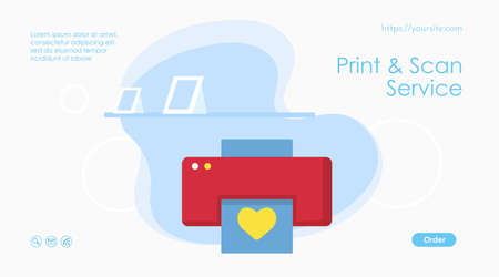 Print and scan service web page or banner template