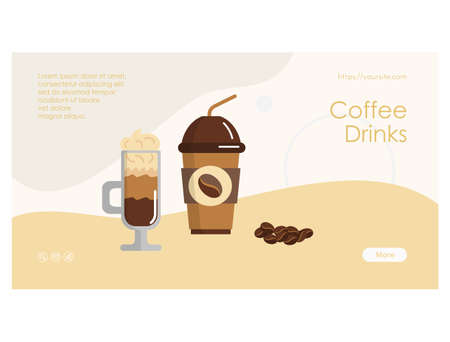 Coffee drinks web page with takeaway coffee cup