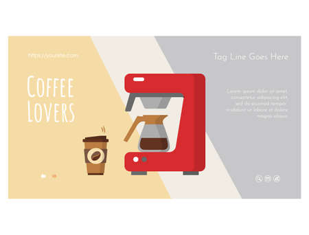 Coffee lovers web banner page flat design template