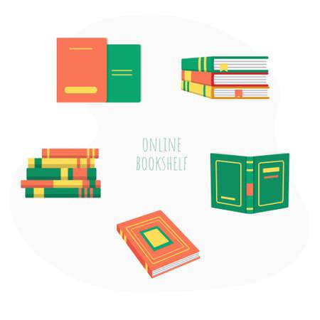 Pile of book education material and literature set Ilustração