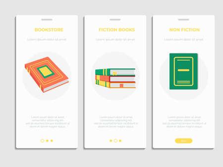 Book store, library mobile app page templates set Ilustração