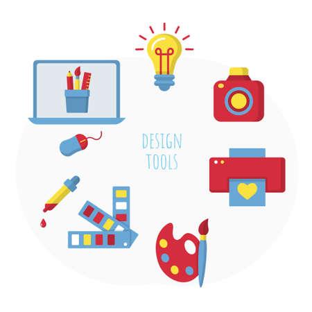 Set of design tools banner, poster flat template Ilustração