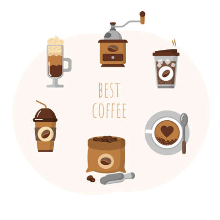 Best coffee set with cups of hot aroma drink