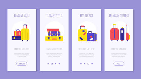 Luggage shipping service onboard screen design set