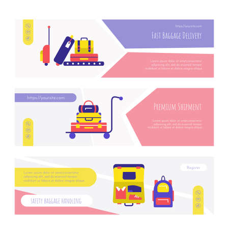 Fast baggage delivery service web page design set