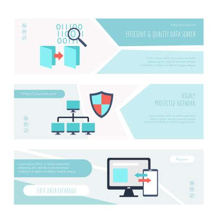 Efficient and quality data search landing page set Ilustração