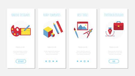 Design onboard screen mobile app set