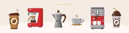 Tasty coffee modern equipment hot drink brewing set Ilustração