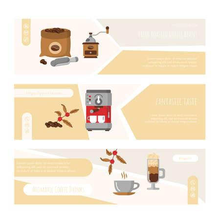 Aroma coffee drinks fantastic taste web banner set Ilustração
