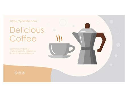 Delicious Coffee web page with geyser coffee maker Ilustração