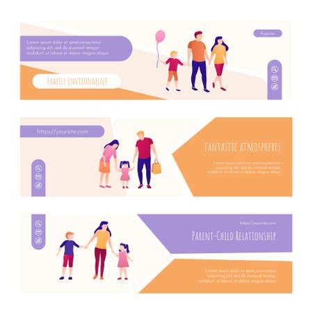 Family environment, relationship web page design. happy parenthood concept vector illustration.