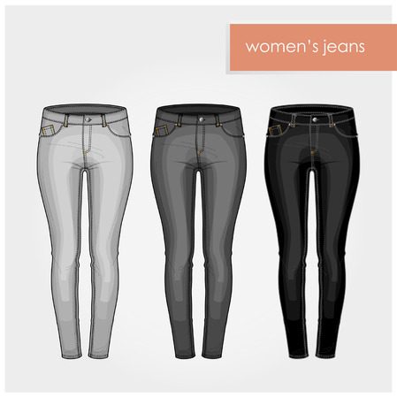 black woman: Fashion illustration. Five pockets skinny woman jeans gray and black.